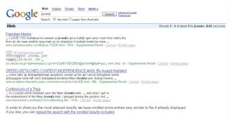 Πρώτη αναζήτηση Joomla στο Google